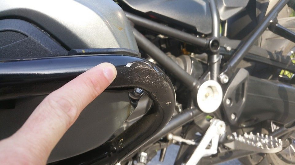 BMW 1200 GS Motorbike inspection left side of engine guard damaged