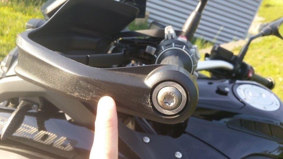 BMW 1200 GS Motorbike inspection left hand guard damaged