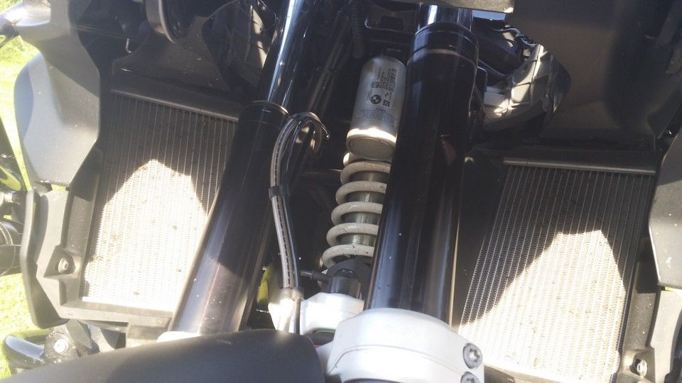 BMW 1200 GS Motorbike inspection radiators and suspension