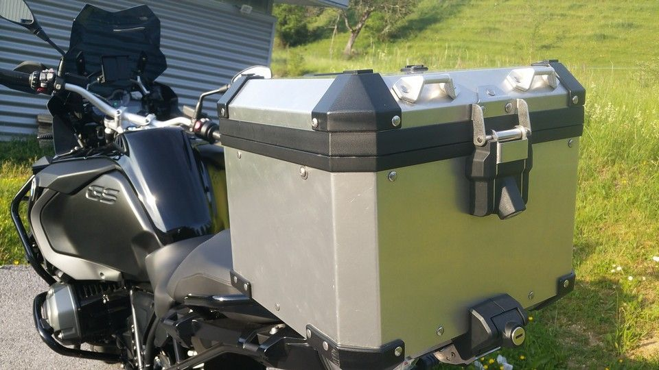 BMW 1200 GS Motorbike inspection top case rear view